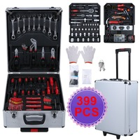 399 PCS Tool Trolley Suitcase Set With Aluminum Alloy Storage Box Universal Mobile Workshop Toolbox Garage Precision Tools