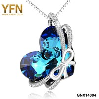 YFN Brand 925 Sterling Silver Crystals From SWAROVSKI Heart Pendant Necklaces Women Maxi Collares Mother S