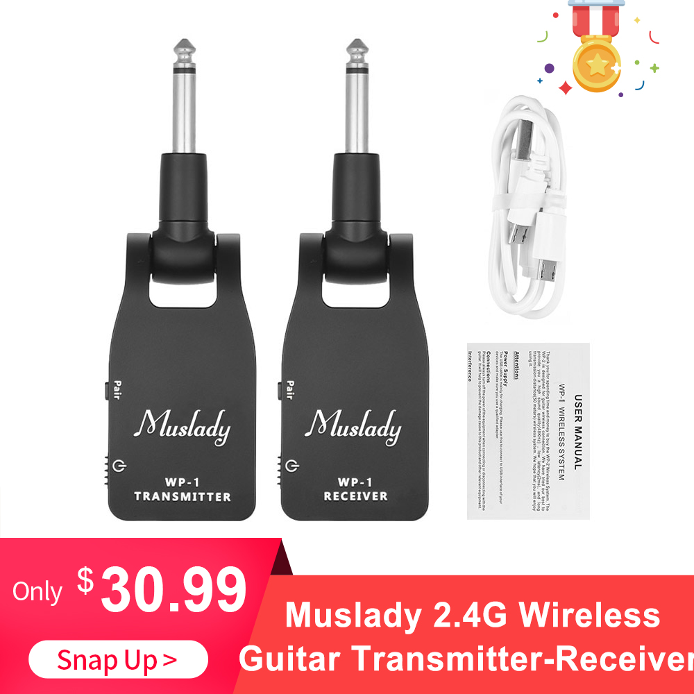 Muslady 2.4G Wireless Guitar System Transmitter & Receiver Built-in Rechargeable Lithium Battery 30M Transmission Range