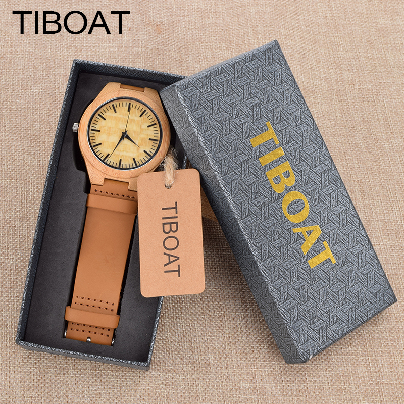 TIBOAT Fashion Men Wooden Watch For Male And Female Christmas Gifts With Black Genuine Leather Watchband Dropshipping hand made mens wooden bamboo quartz watch black genuine leather watchband simple unique modern wristwatch gift for male female