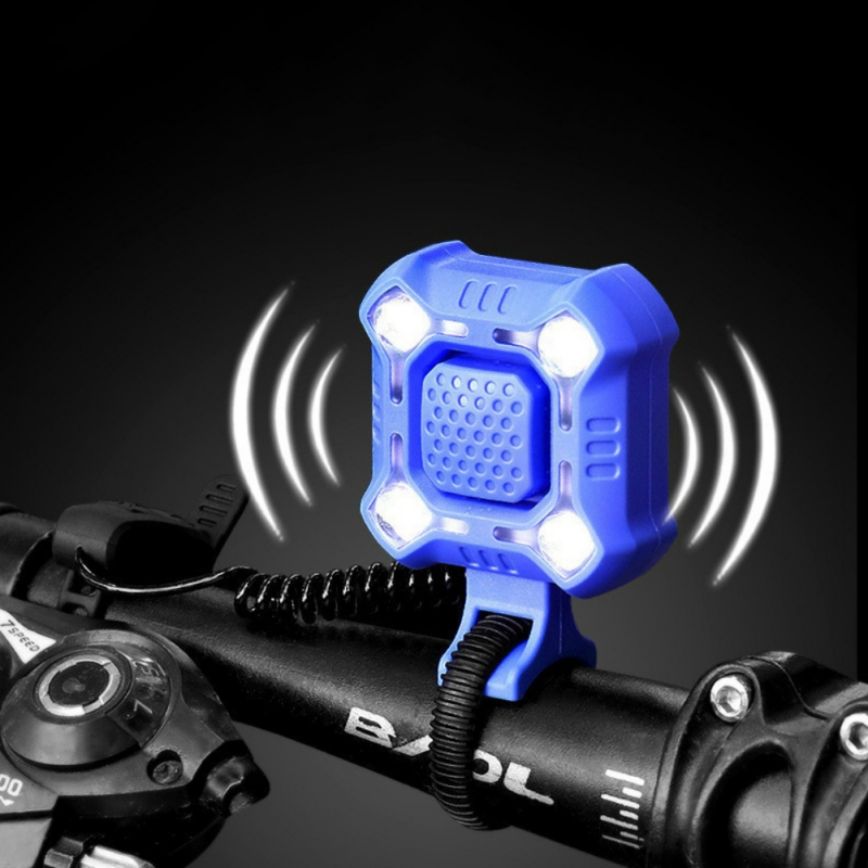 2 In 1 Bicycle Bell Light Front Light Headlight 5-sounds Alarm Speaker USB Charging Flashlight Cycling Torch Bike Rear Tail Ligh