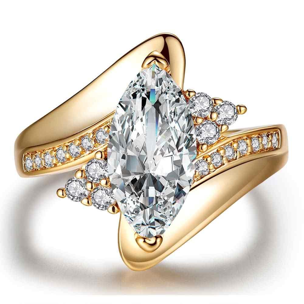 2017 ขายร้อนออกแบบใหม่หรูหรา CZ แหวนแต่งงานแหวนเครื่องประดับสำหรับผู้หญิงจัดส่งฟรีเครื่องประดับ