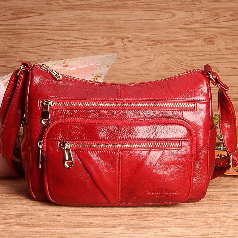 Women Genuine Leather Handbags Fashion Cow Leather Messenger Shoulder Bags Bolsas Feminina High Quality Hobos Bag стоимость