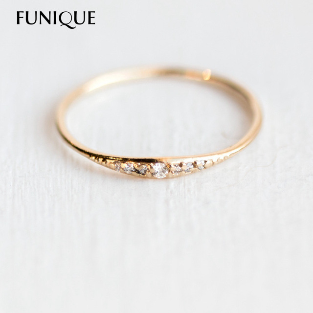 Funique 2018 New Design Small Cute Rose Gold Color Crystal Wedding Rings For Women Jewelry Round