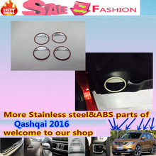 High Quality For Qashqai 2016 car door Styling detector stick ABS Inside Audio Speak Sound Cover Ring circle lamp trim 4pcs
