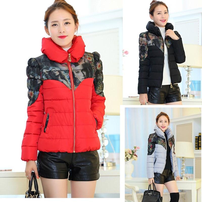 ФОТО 2015 Winter Jacket Women Parka Long Sleeve Cotton Jacket Coat Ladies Zipper Padded Short Basic Jacket H4693
