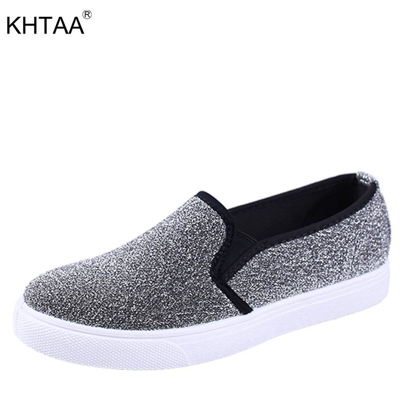 KHTAA Women Vulcanize Shoes Glitter Elastic Band Flats Platform Loafers For Female Slip On Spring Casual Student Footwear Girls hot new 2018 spring autumn wedges high heels ladies casual shoes vulcanize women slip on platform shoes female chaussure femme