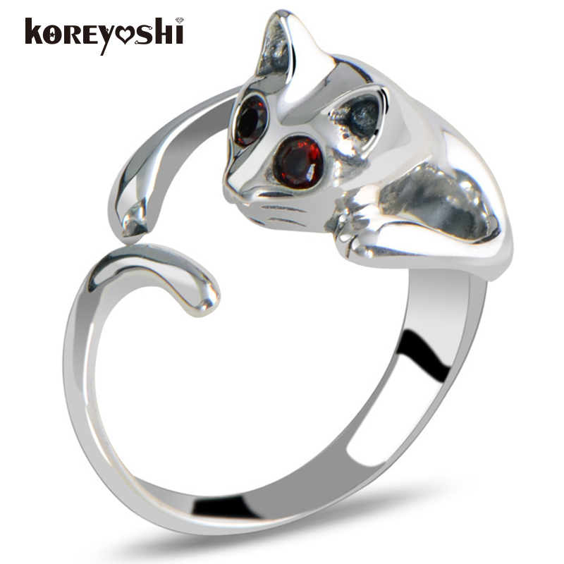 ring Cat Charming cute silver plated opes