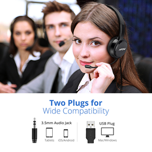 Image 4 - 2PCS Mpow PA071 Wired Headphones Headset With Noise Reduction Sound Card 3.5mm/ USB Plug Earphone For Call Center PC Phones Pad