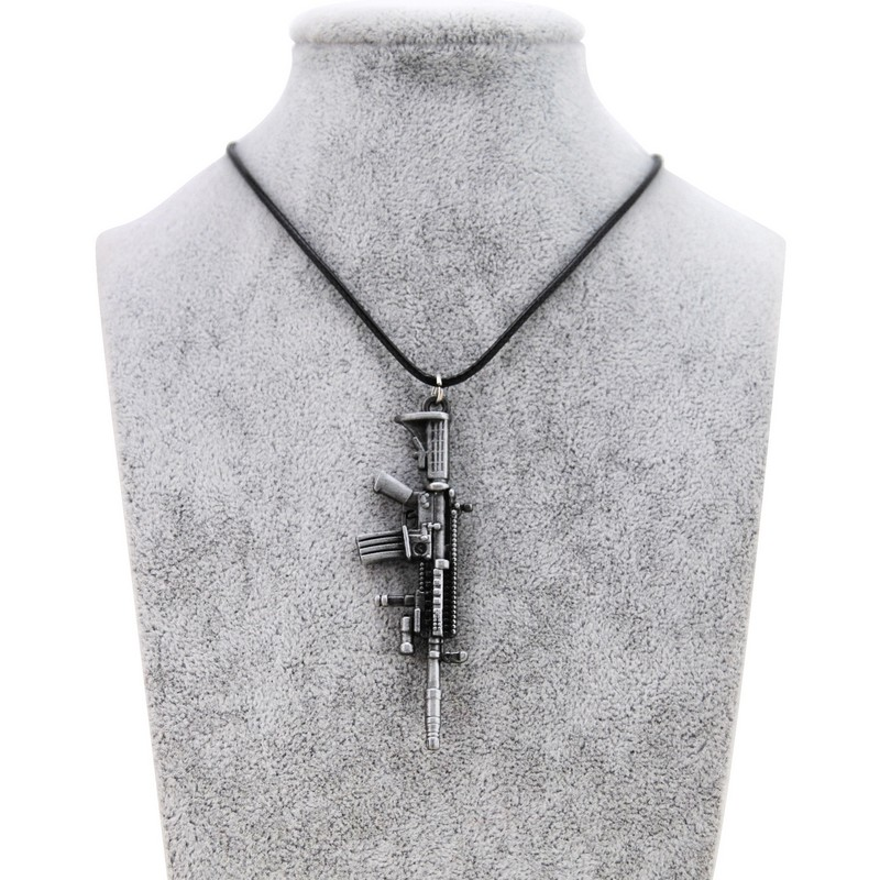 Fashion New Counter Strike Gun Pendant Necklace For Men Vintage Gold Chain CS GO Choker Guns Necklace Male Jewelry Gift