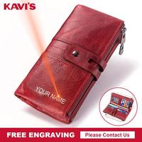 KAVIS Free Engraving Women Wallet Female Coin Purse Hasp Portomonee Clutch Money Bag Lady Handy Card Holder Long for Girl Use
