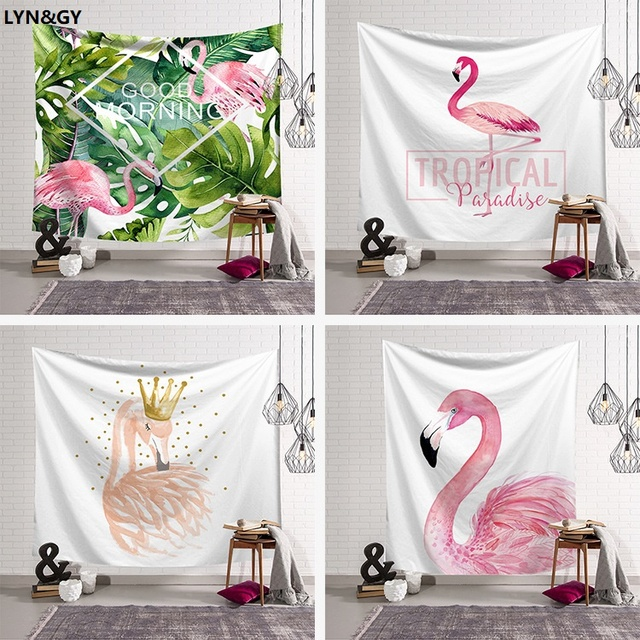 New Pink Flamingo Home Furnishing Tapestry Wall Hanging Sandy Beach Picnic Throw Rug Blanket Camping Tent Travel Sleeping Pad