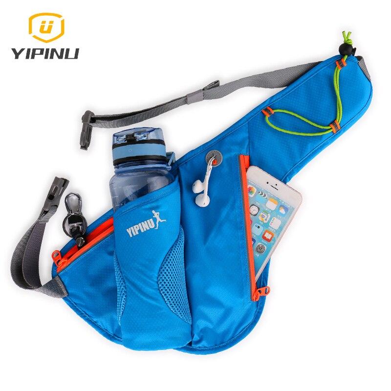 YIPINU professional sport waist belt bag with 6cm diameter 550ml water bottle pocket running waist phone pouch sport accessories