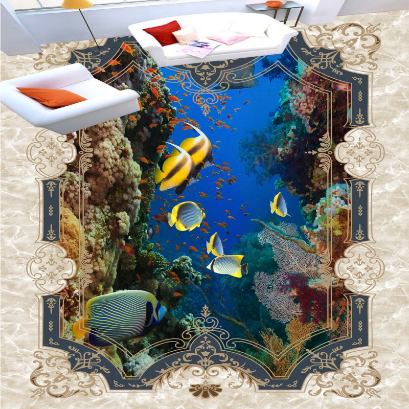 ФОТО Free Shipping Parquet Ocean World Dolphin 3D Stereo Painting Flooring walkway playground wear floor wallpaper mural