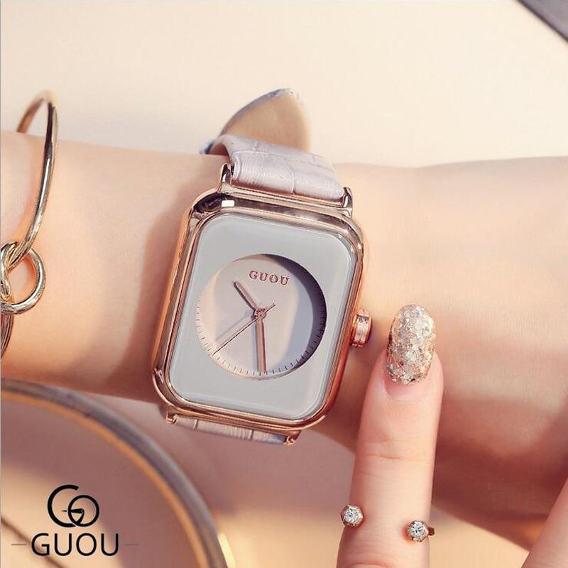 GUOU Ladies Watch Vogue Rectangle Women Watch Soft Genuine Leather Quartz Women Watches Lady Clock reloj mujer relogio feminino