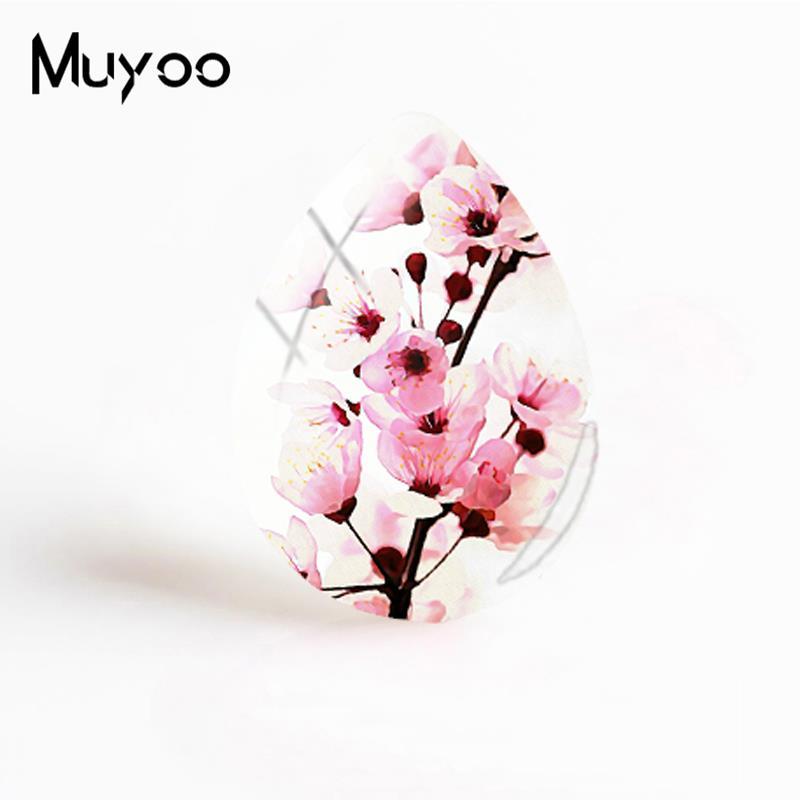 Новые вишневые цветы стеклянные кабошоны розовые цветы художественные узоры ручной работы ювелирные изделия слеза капельки Кабошоны - Цвет: 6