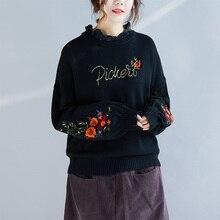e90da81606 Vintage Bohemian Hippie Boho Casual Black Blue Lantern Sleeve Flower  Embroidery Turtleneck Knit Sweater Women Autumn
