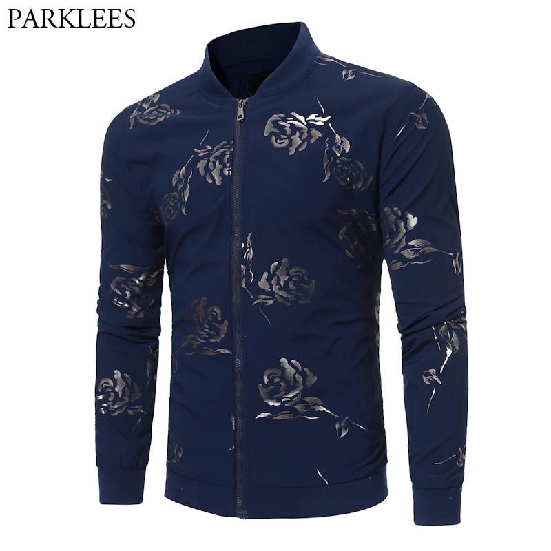 Trend Baseball Jackets Men 2017 Fashion Rose Printed Bomber Jacket Men Casual Windproof Zipper Mens Autumn Jacket Veste Homme