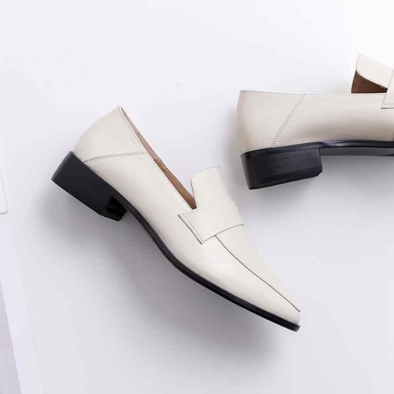 Krazing Pot 2019 superstar slip on ronde teen koe lederen vrouwen pompen med hak kantoor dame loafers effen neutrale casual schoenen L05