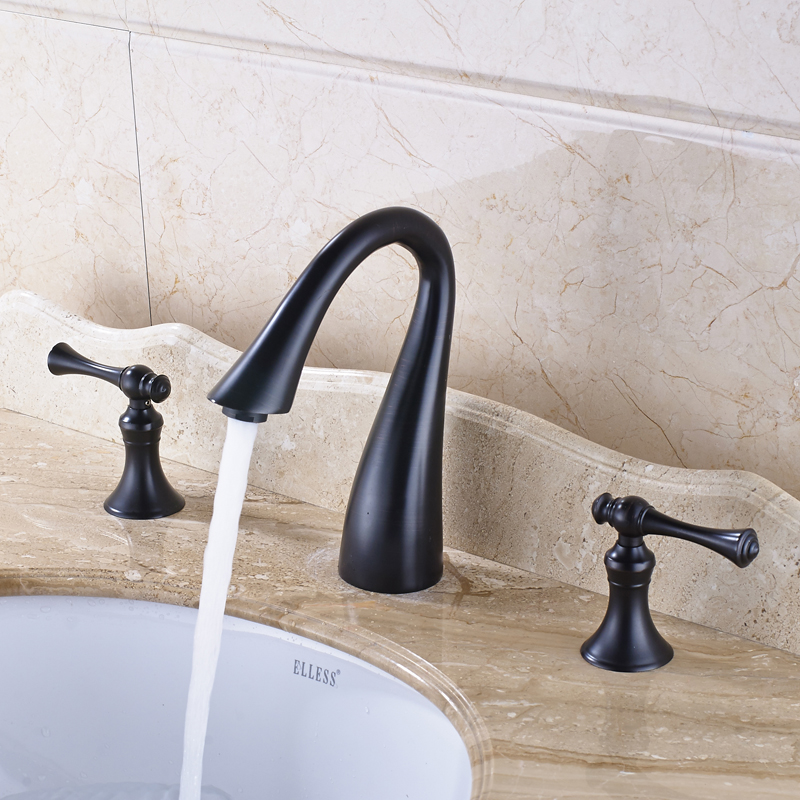 Swan Neck Style Oil Rubbed Bronze Bathroom Sink Faucet Double Handles Mixer Tap allen roth brinkley handsome oil rubbed bronze metal toothbrush holder