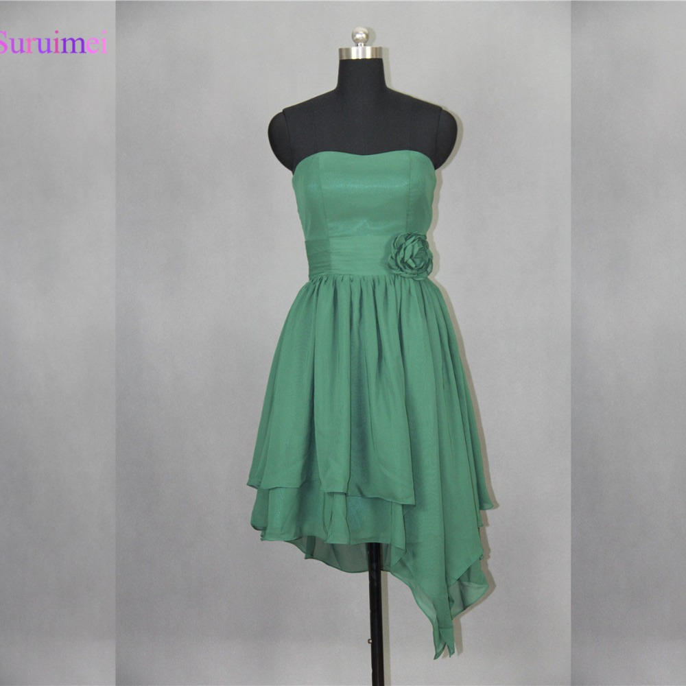Emerald Green Bridesmaid Dresses With Handmade Flower Chiffon Short Dress Maid Of Honor Free Shipping
