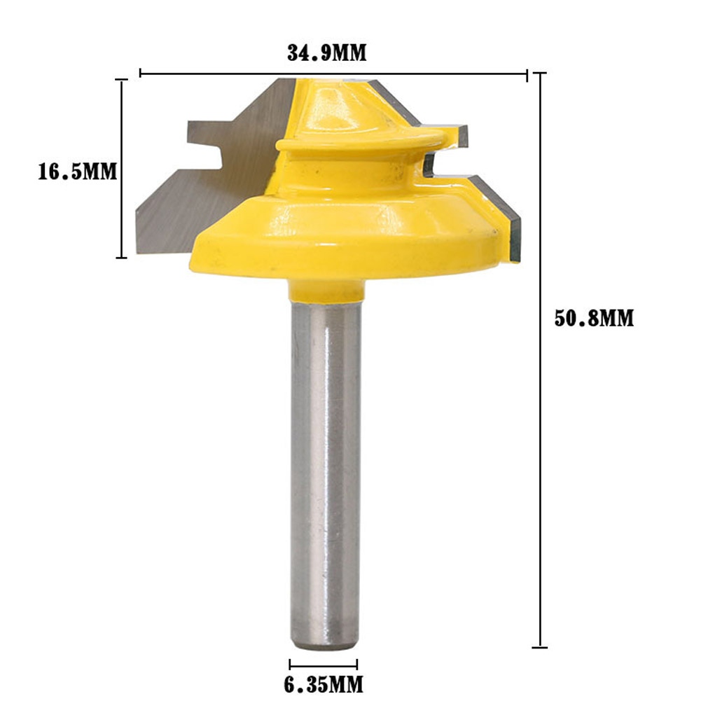45 Degree Lock Miter Router Bit 1-3/8'' Woodworking Tenon Cutter Tool W/1/4 Inch Shank Wood Working Drilling 1 2 5 8 round nose bit for wood slotting milling cutters woodworking router bits
