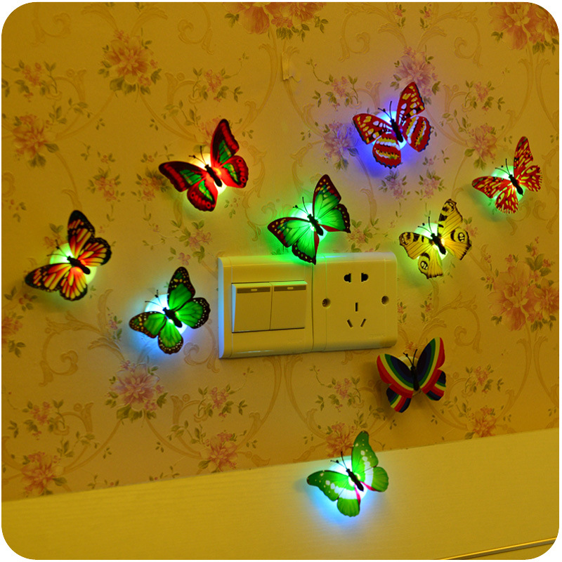5 PCS Beautiful Colorful Butterfly Night Light Baby Bedside Light Bedroom Decor Light Mini Night Light