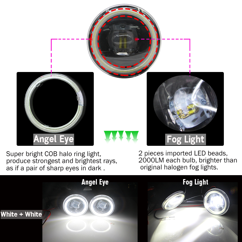 Image 3 - Cawanerl For Nissan X Trail T31 Car H11 4000LM LED Bulb Fog Light Angel Eye DRL 12V Styling 2007 2008 2009 2010 2011 2012 2013-in Car Light Assembly from Automobiles & Motorcycles