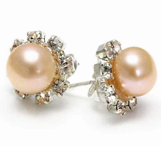 Ry00835 8mm Asli Alami Hitam Putih Pink Ungu Mutiara Kristal Stud Earrings