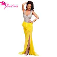 DearLove Hot Elegante do Assoalho-Comprimento Longo Vestidos Vestidos Robe de Soirée Prata Caro Busto Amarelo Babado vestido de Festa Vestido de Noite LC60681(China (Mainland))