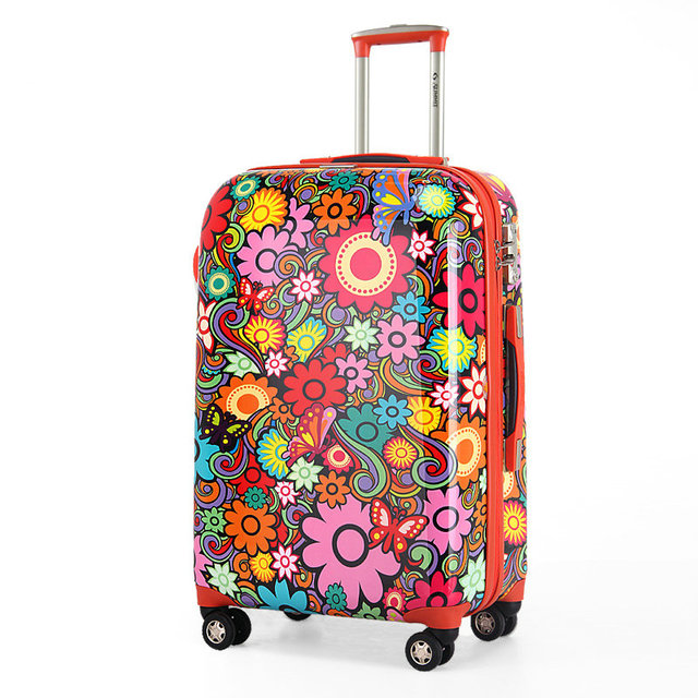 "New Women Fashion Travel Suitcase Print Trolley Luggage Travel Bag Universal Wheels Luggage 20"" 28"" Rolling Luggage"
