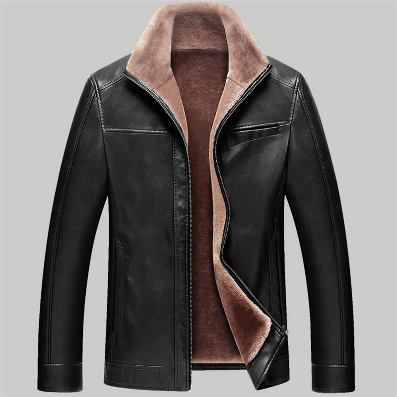 New Winter Leather Jackets Men Garment Business Casual Coat Men Thick Warm Motorcycle Biker Velvet Mens Faux Fur Coats 4XL