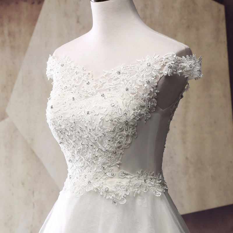 Robe de mariage Pretty Women Ball Gown Wedding Dresses 2019 Real Image Vintage Lace Crystals New Bridal Gowns Off The Shoulder in Wedding Dresses from Weddings Events