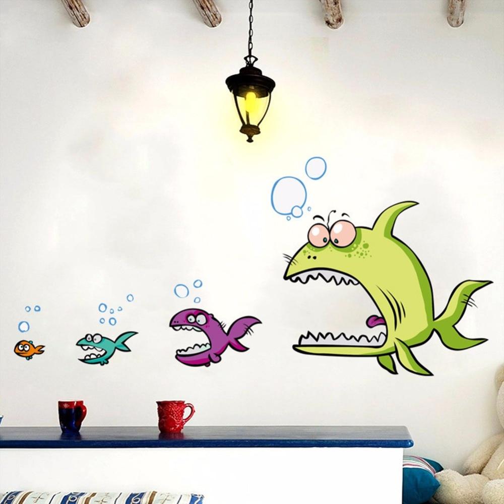 Underwater World Kartun buaya ikan besar ikan kecil untuk bayi kamar anak anak dinding kamar mandi
