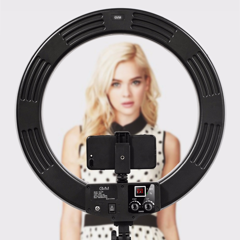 GVM LED Ring Light With Stand 3200K-5600K Dimmable Video Ring Light For  Makeup YouTube Photography Lighting Kit 45987047d