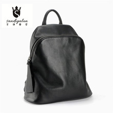 2016 New Soft Genuine Leather Woman Backpack Fashion  Black Backpacks Vintage School Bags For Teenagers High Quality Women Bag