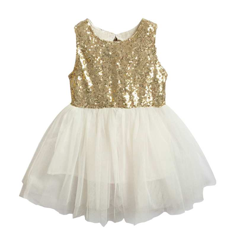 Buy Cheap Summer Cute Girls Sleeveless Sequins Dress Party Dress 3-9T
