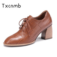 TXCNMB 2019 Spring Autumn New Fashion high heel women shoes Lace Up Shallow Women Pumps Top Quality Genuine Leather Shoes woman