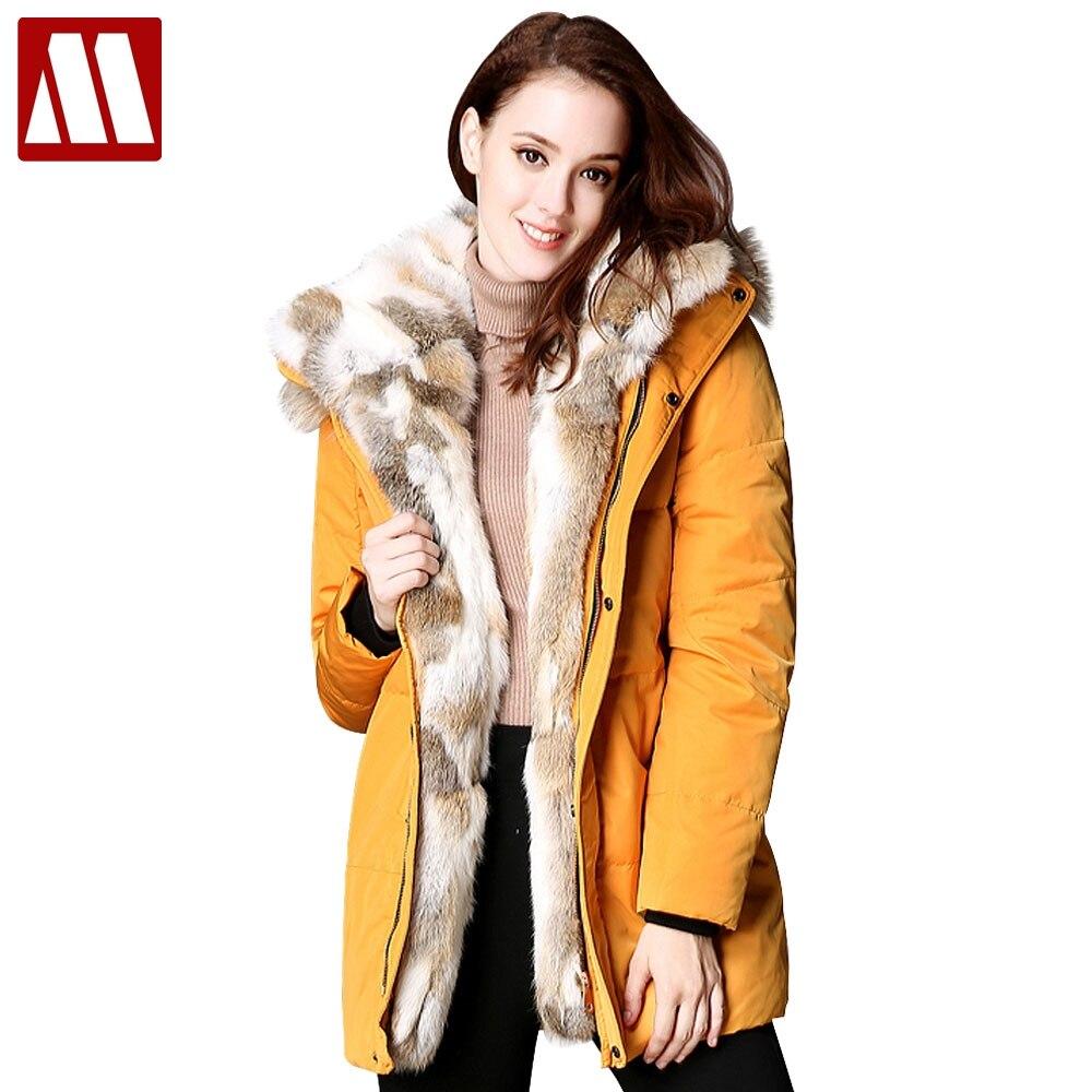 2018 новые зимние Для женщин вниз пуховик женский мех енота с капюшоном куртка на гусином пуху теплый длинное пальто утепленные парки Abrigo Mujer