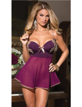 New Sexy Nightdress Sleep Wear Plus Size Night Dress Hot Sexy Lingerie Bridal Lace Belted Sleepwear +g-string Purple Nightwear
