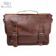 Three-Box Brand Handbag Men PU Leather Business Messenger Briefcase Laptop Tote Bag Male Satchel Shoulder Crossbody Bags 2330