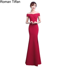 2017 New Fashion Roman Tiffan Evening Dresses Sexy Side Split Mermaid Robe De Soiree Boat Neck Bodycon Women Banquet Party Dress