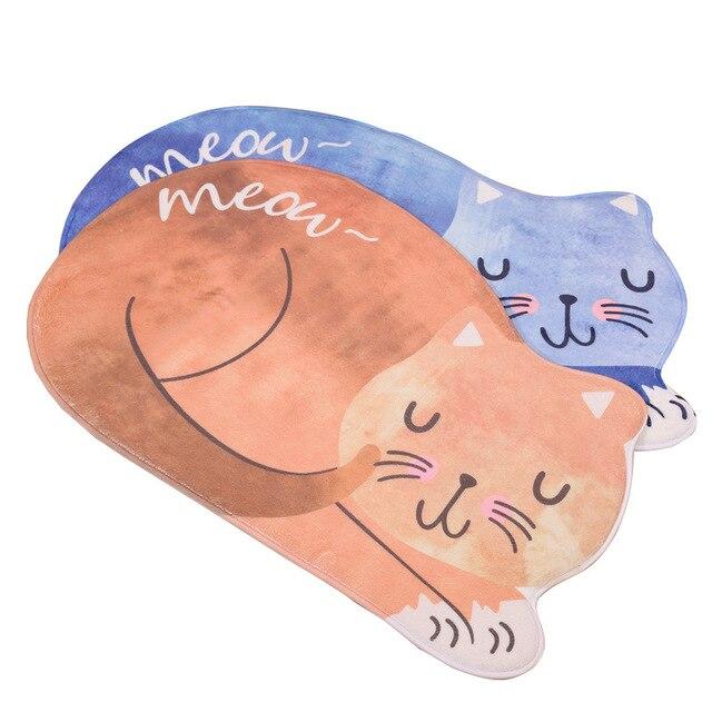 New Home Style Kawaii Floor Mats Cute Cat Animal Print Bathroom  Kitchen Carpets Children For Living Room Anti-Slip Tapete Rugs