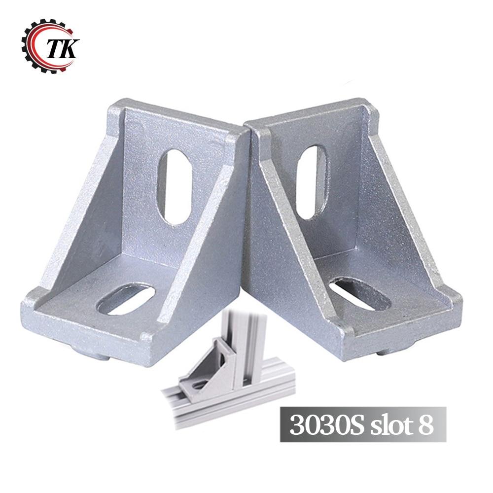 20pcs Aluminum Extrusion Profile Corner Angle Bracket 3030 Series extrusion Joint Gusset 2 hole transition inside corner bracket for 3030 aluminum profile