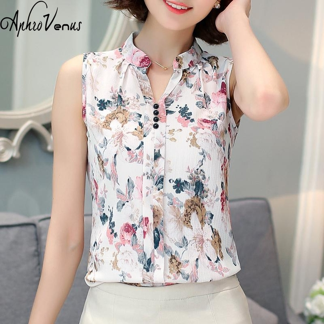 4df0afcc38650 Womens Tops And Blouses Sleeveless Floral Chiffon Shirt Elegant Work Women  Blouses Print Workwear Blouse blusas mujer de moda