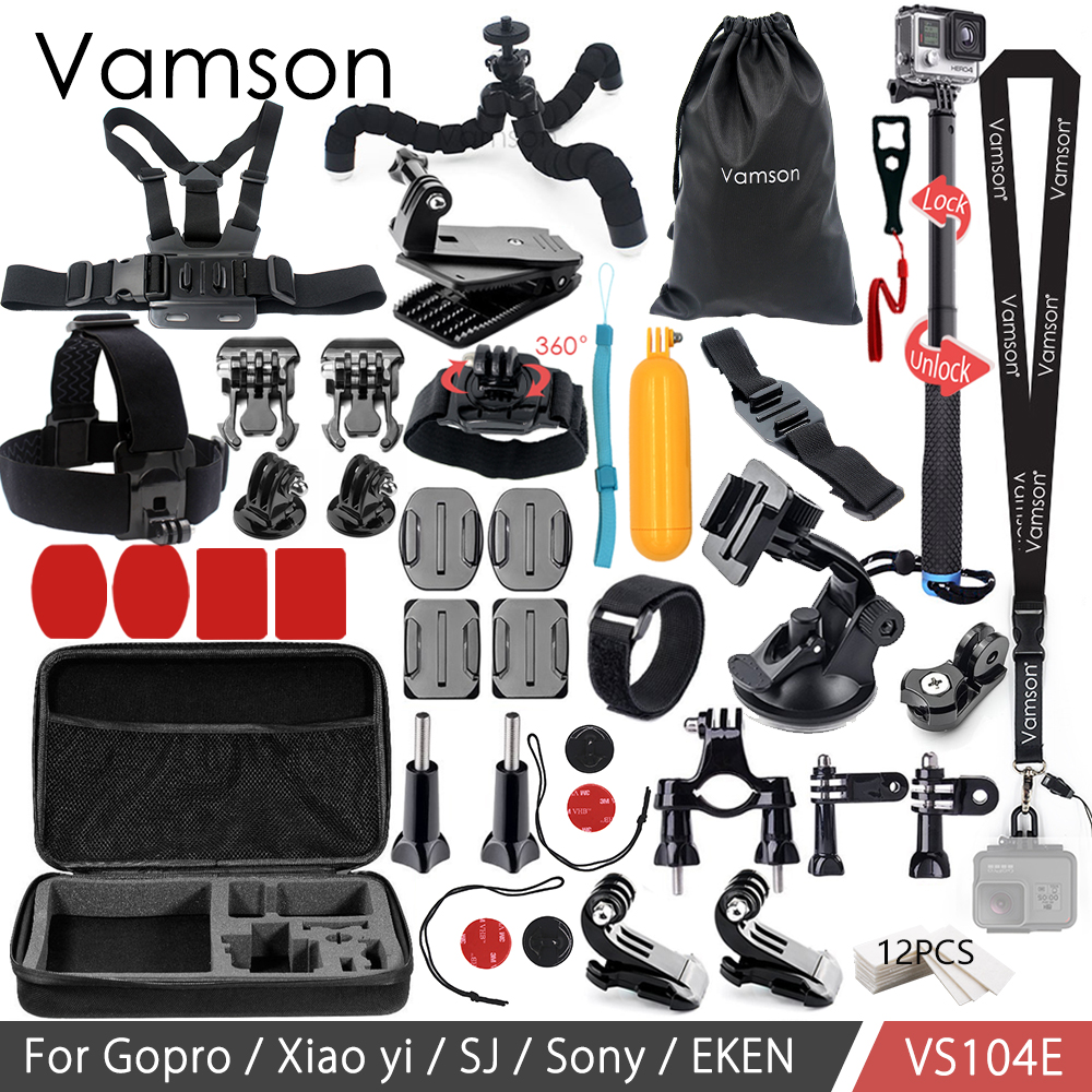 Vamson for Go pro Accessories Kit 3 way Monopod For Gopro Hero6 5 4 3 For Xiaomi yi for SJCAM EKEN H9R Mijia VS104 16in1 gopro accessories set helmet harness chest belt head mount strap monopod for go pro hero 5 4 3 2 1 xiaomi yi action camera