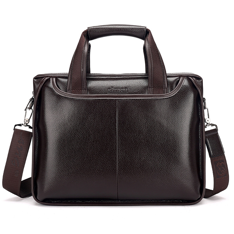 Fashion Simple Business Men Briefcase Bag Portable Vintage Leather Laptop Bag High Quality Tote Casual Man Bag Shoulder Bags