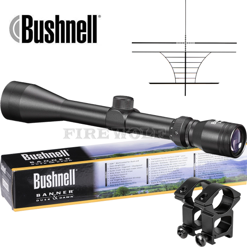 BUSHNELL 3-9X40 Riflescope Adjustable Green Red Dot Hunting Light Tactical Scope Reticle Optical Sight Scope 40414 3 9x40 мм