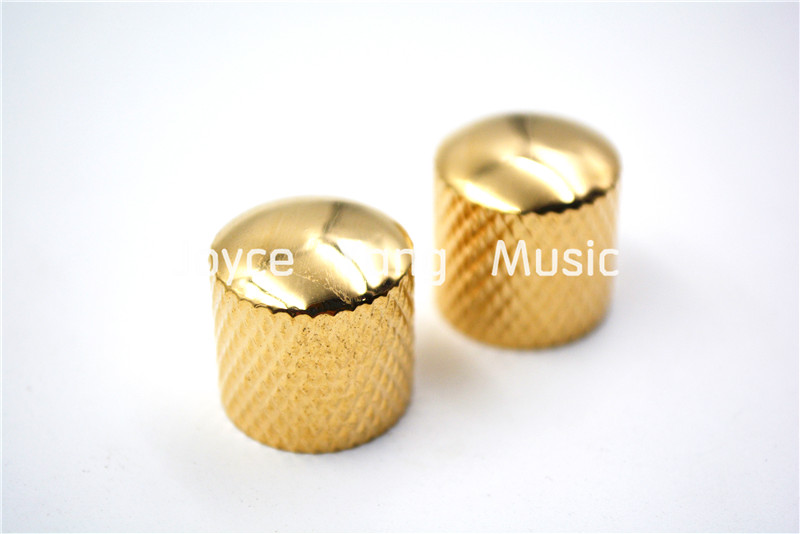 1 Set of 2pcs Niko Gold Metal Dome Electric Guitar Knobs For Fender Tele Jass Bass