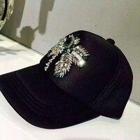 2018 new arrival fashion visor rhinestone baseball cap pure cotton mesh hat female visor cap Luxury show wild models 466